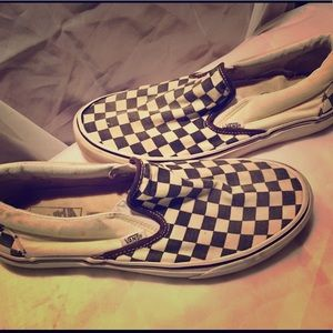 Vans Checkered Slip ons.Men-9.0 or Women-10.5